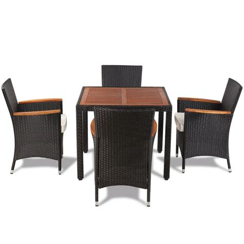 wicker table and chairs set vidaxl poly rattan garden dining set with 4 chairs and