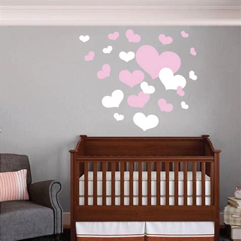 heart wall stickers for bedrooms nursery room heart wall decals trendy wall designs