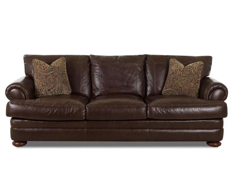 Klaussner Leather Sofas Klaussner Montezuma Ld43800 S Leather Sofa With Rolled Arms Dunk Bright Furniture Sofa