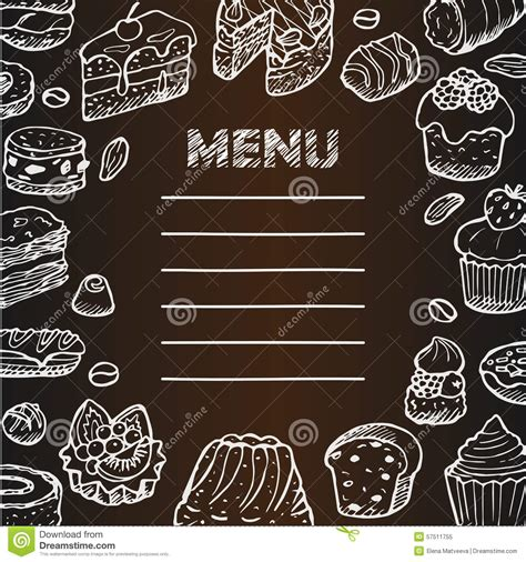 doodle cafe menu with cafe doodle elements stock vector