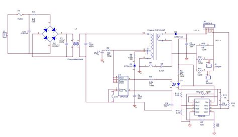 led driver schematic diagram white led driver constant current isolated offline circuit