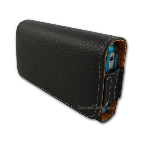black faux leather cover pouch with belt clip for