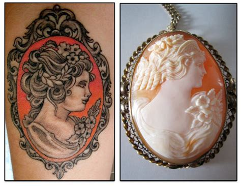 cameo tattoo vintage style brooch the official for things ink