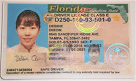 florida id card template scannable ids
