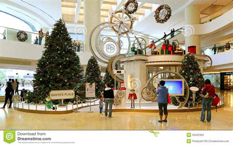 malls decorated in christmas decoration in shopping mall editorial stock photo image 35422303