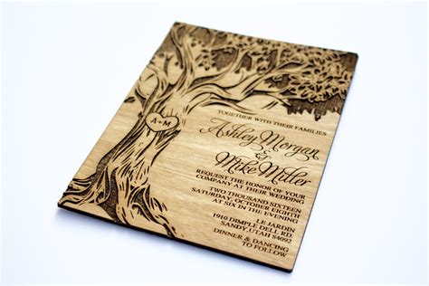 Housewarming Gifts For First Home tree engraved invitation wooden wedding invitation real