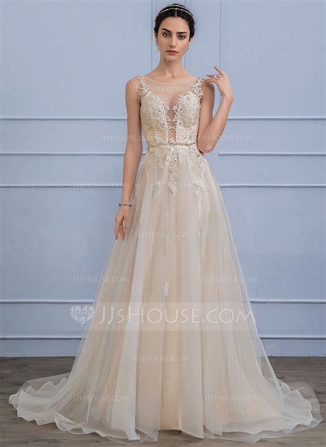 beading a wedding dress a line princess scoop neck sweep train tulle wedding dress