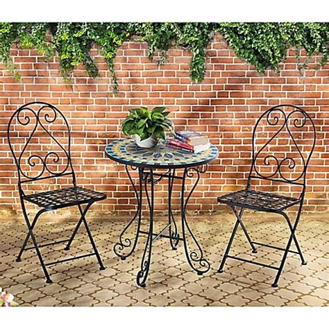 Mosaic Bistro Table And Chairs Mosaic Bistro 3 Outdoor Table And Chairs Set Buy In Uae Products In The Uae