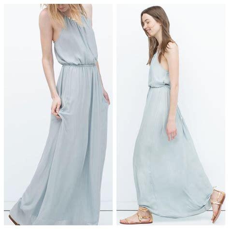 Zahra Maxy Dress zara pale blue with appliqu 233 at neck casual maxi