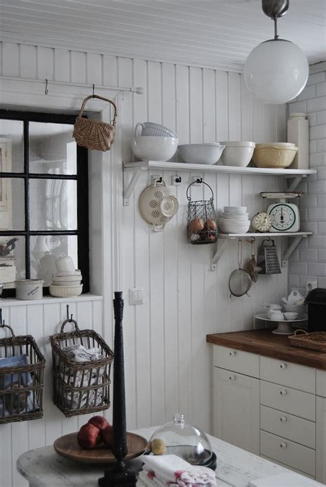 Open Kitchen Shelves With Baskets Farmhouse Eclectic Cottage