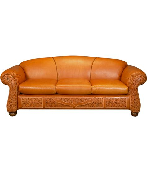 Tooled Leather Sofa Tooled Leather Sofa Western Sofa Rusticartistry