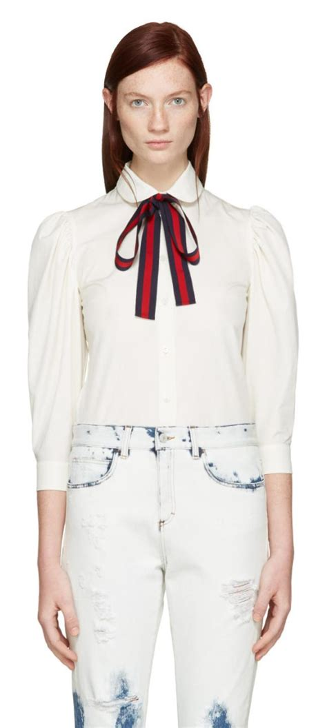 Detachable Ribbon Shirt gucci ribbon shirt in white shopstasy