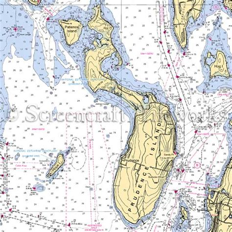 Custom Photo Wall Mural rhode island prudence island nautical chart decor