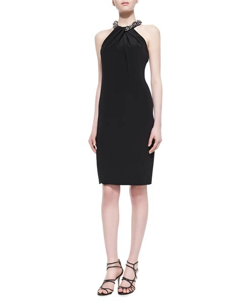 beaded halter dress lyst marc valvo beaded neck halter cocktail dress