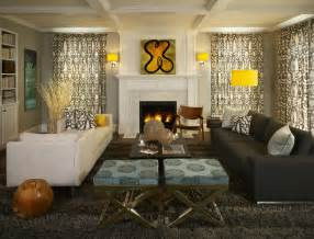 Houzz Home Design Decor by Greys With Splashes Of Lemon Yellow Make This Family Room