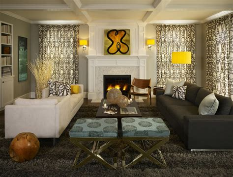 houzz living rooms greys with splashes of lemon yellow make this family room