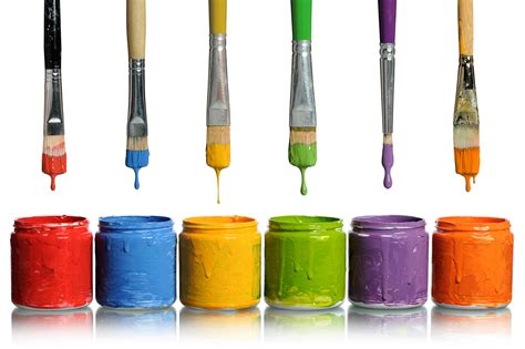 paint images paintbrushes dripping into paint containers hd free foto