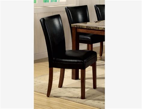 Black Leather Parsons Dining Chairs 2 Pc Cherry Wood Dining Parson Chairs Black Leather Seat