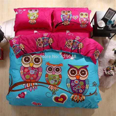 twin owl bedding hot free shipping new listing cartoon duvet cover