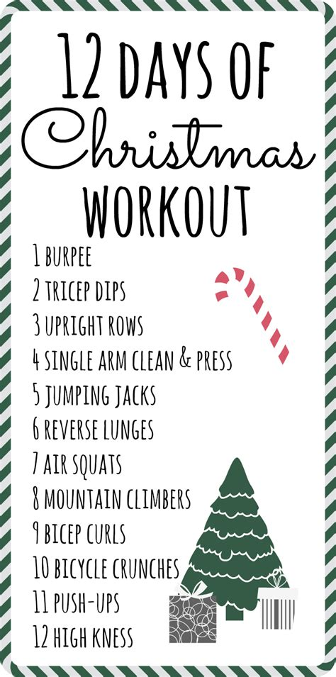 twelve days of christmas work 12 days of workout talk less say more