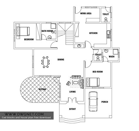 house plan dwg european style two bedroom house plan dwg net cad