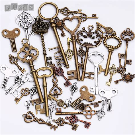 Handmade Jewelry Makers - metal mixed charms key shape pendant charms for jewelry