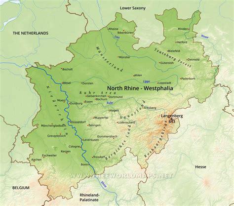 rhine germany map rhine westphalia physical map
