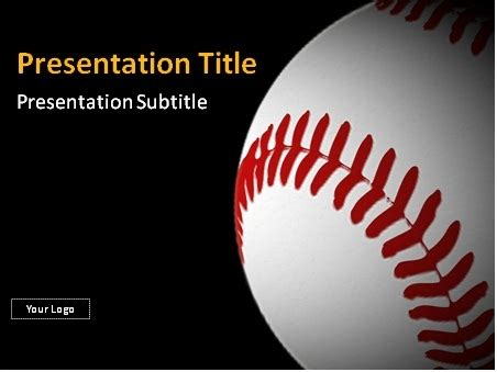 Download Baseball Ball With Red Stitches Powerpoint Template Free Baseball Powerpoint Templates