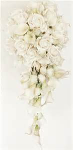 White Flower Bridal Bouquets - natural touch off white real touch calla lilies and roses cascading bouquet
