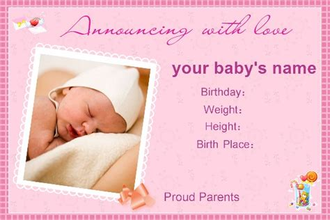 free templates for birth announcements for a baby girl free photo templates baby birth announcement