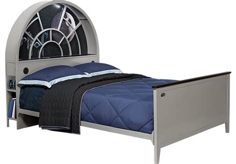 rooms to go headboards star wars millennium falcon gray 3 pc full bookcase bed