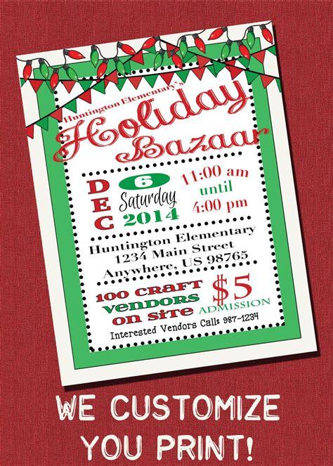 Customizable Holiday Bazaar Christmas Craft Show Flyer Printable Digital Download By Bazaar Flyer Template