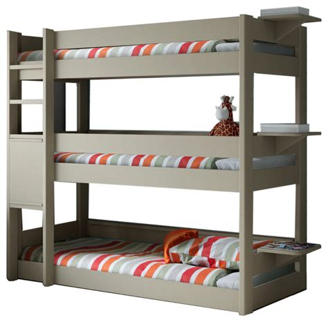 Bunk Bed With Three Beds Pearl Grey Three Tier Bunk Bed Solid Pine Includes 3 Mattresses Contemporary