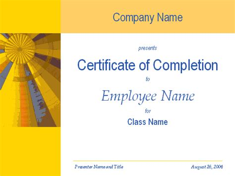 certificate of completion template powerpoint certificate free certificate templates for ms