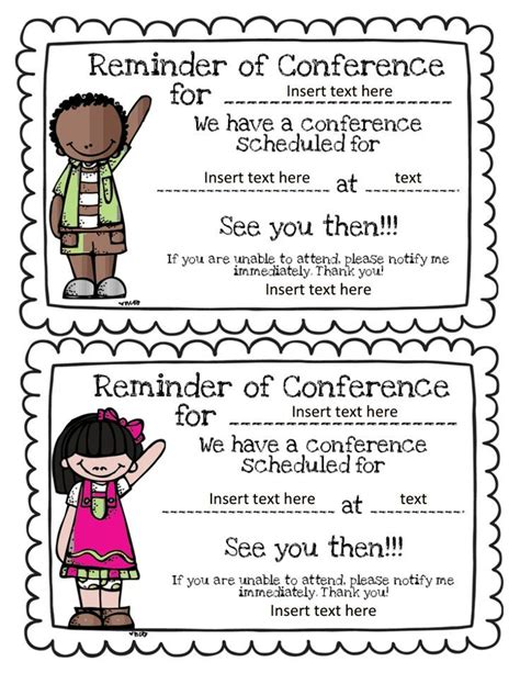 reminder templates for teachers parent conference reminders organized classroom