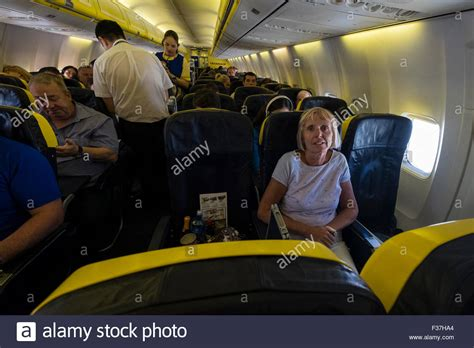 ryanair cabin crew passengers and cabin crew on a ryanair airbus a380 flight