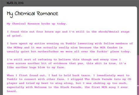 mcr up letter gerard bookygirl mourns my chemical split