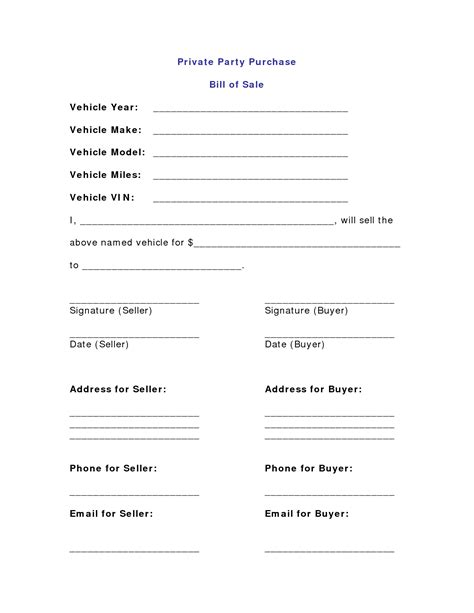 bill of sale agreement template 10 best images of vehicle purchase sale agreement