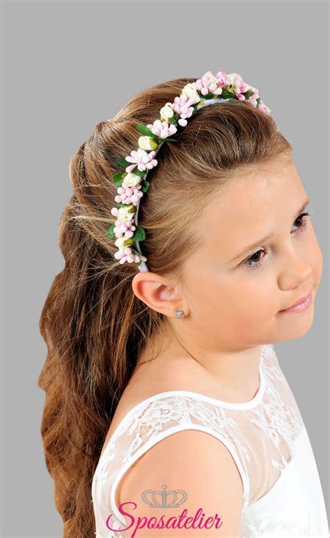 fiori per capelli cerchietto di fiori per bambina per la prima comunione