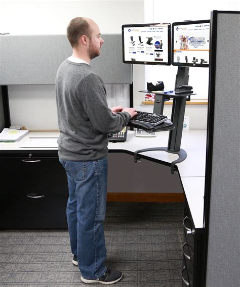sit stand desk dual monitor taskmate go dual monitor sit stand workstation standing