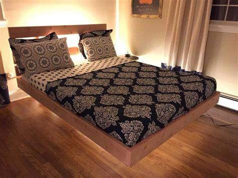 King Size Platform Bedroom Sets by Oak Wood King Size Floating Platform Bed With Headboard