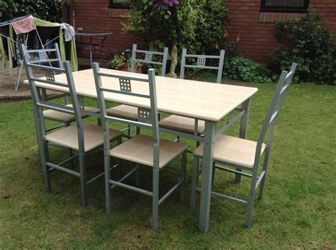 kitchen dining table set 6 seater wooden top metal legs