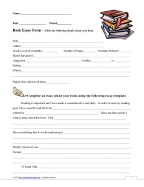 book report forms middle school 5 paragraph essay book report form what teachers need