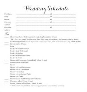wedding day of itinerary template 20 wedding schedule templates free sle exle