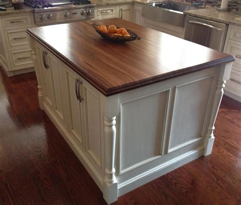 White Kitchen Island With Butcher Block Top by Custom Sapele Mahogany Wood Countertop In Sylvania Ohio