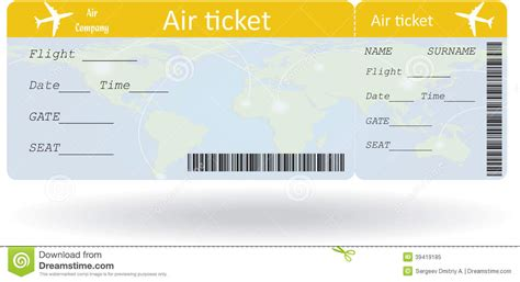 Flight Ticket Template Gift by Pin Boarding Pass Sle On