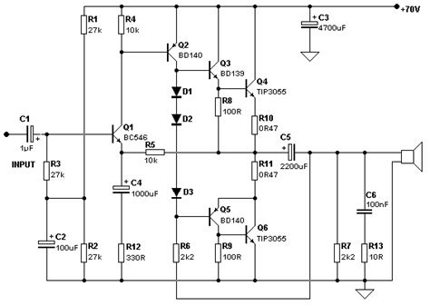 bd139 transistor circuit sound lifier circuit electronic circuit diagram and layout