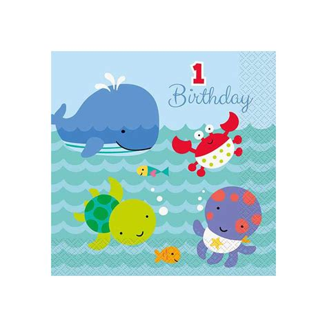 St Blossom Balon Gl50 magicbaloni the sea pals servieti 1 st birthday