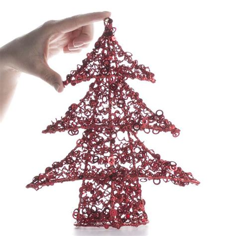 red sequin wire christmas tree christmas trees and