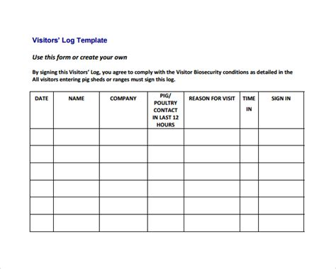 sle visitors log template 9 free documents in pdf word